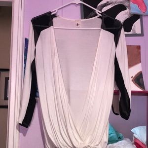 White and black draped top